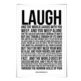 Laugh & the World Laughs With You Art Print. 60 Colours/3 Sizes. Poetry Poster. Solitude Ella Wheeler Wilcox