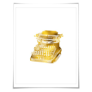 Antique Vintage Typewriter Gold Foil Art Print. 7 Foil Colours/3 Sizes. Gift for Writer Author