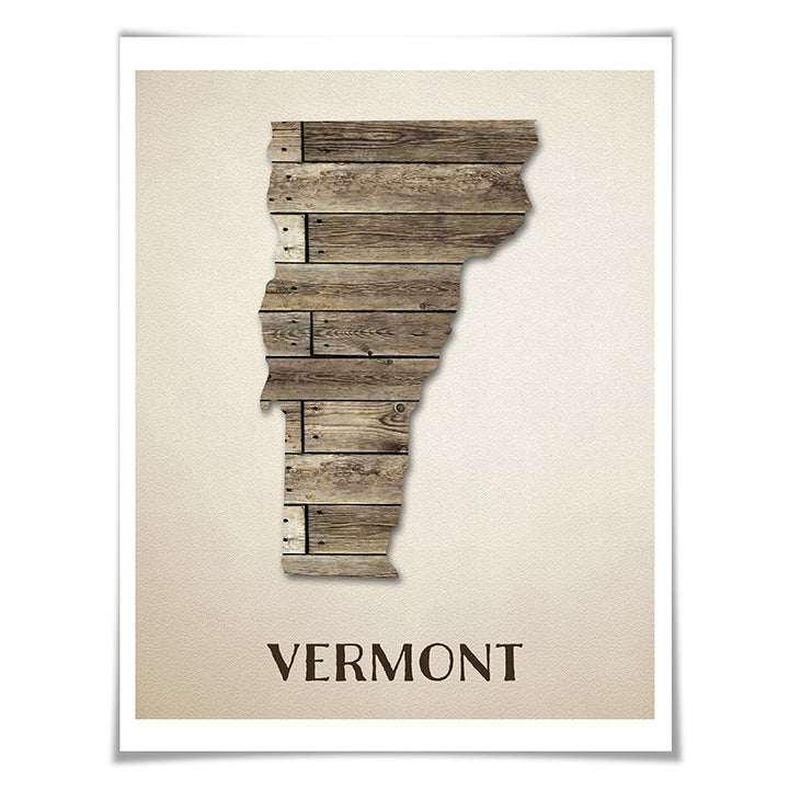 Vermont Map Art Print. 5 Sizes. Travel Poster. Custom State. USA Map. Rustic Art Home Decor.