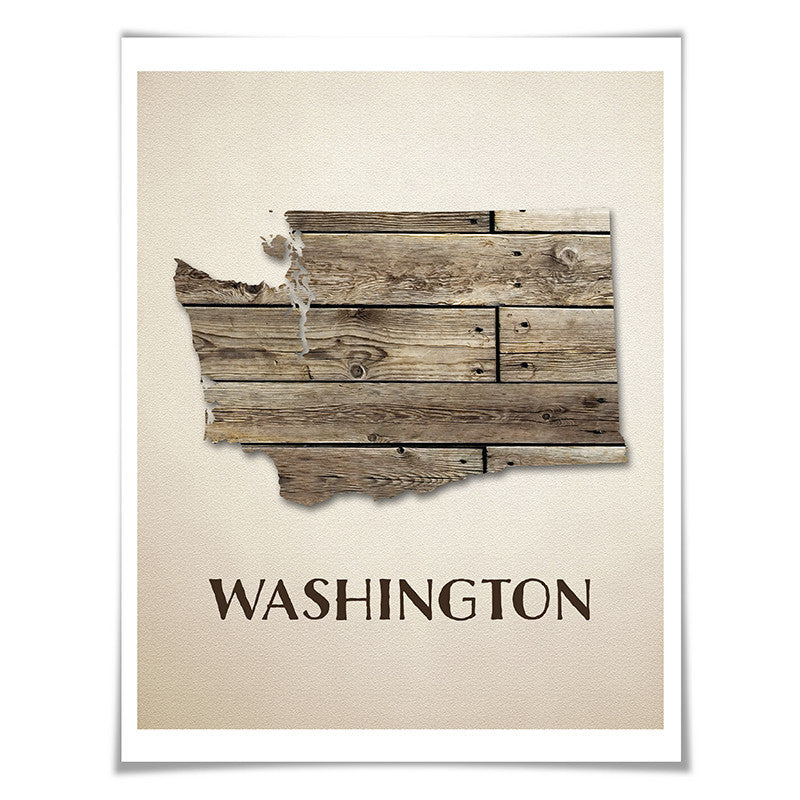 Washington Map Art Print. 5 Sizes. Travel Poster. Custom State. USA Map. Rustic Art Home Decor.