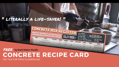 Concrete Mixing Recipe Card - PDF For Download
