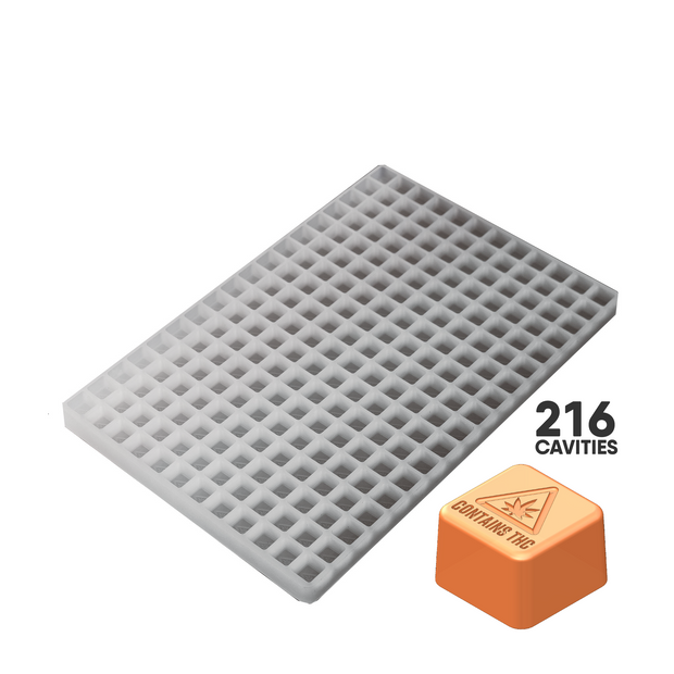 CUBE CANDY SILICONE MOLD - MASS REGULATORY SYMBOL - 216c FOOD GRADE PLATINUM SILICONE #S10