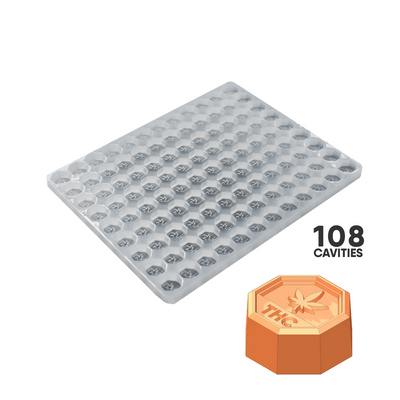 OCTAGON THC CANDY MOLD - 5.0mL CANADA THC SYMBOL 108 CAVITY PLATINUM SILICONE FOOD GRADE MOLD #S26