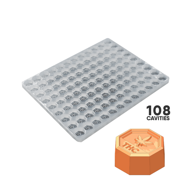 OCTAGON THC CANDY MOLD - 5.0cc CANADA THC SYMBOL 108 CAVITY PLATINUM SILICONE FOOD GRADE MOLD PS53