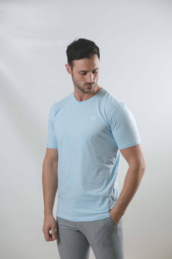 Light Blue T-Shirt With White Logo T-Shirts Walker & Hunt