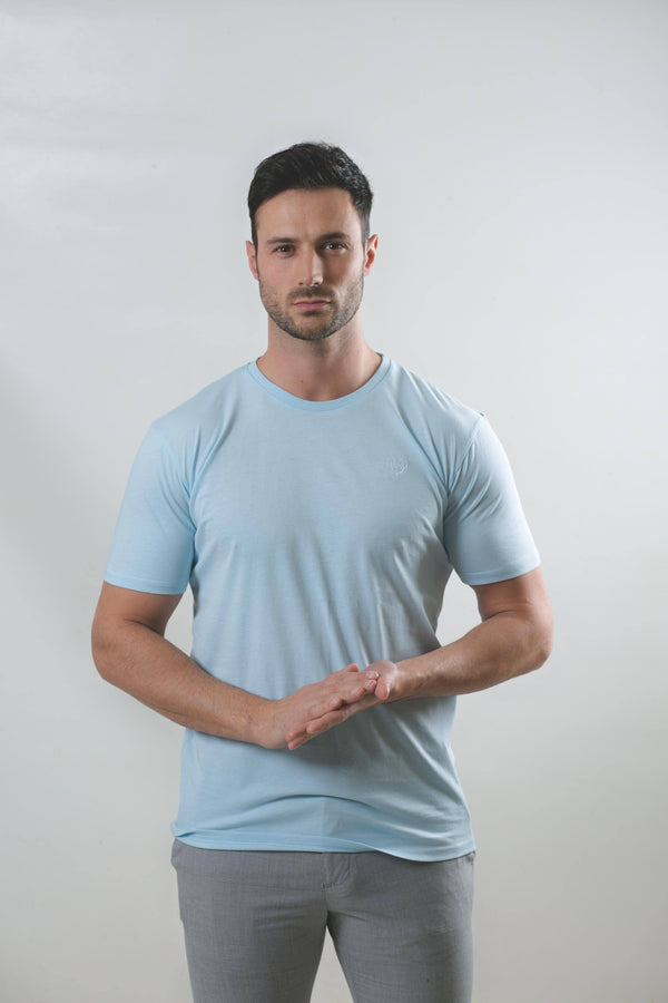 Light Blue T-Shirt With White Logo