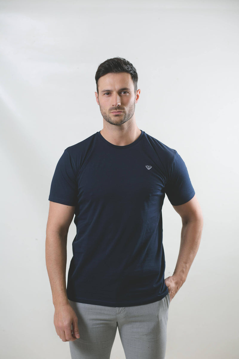 Navy Cotton T-Shirt T-Shirts Walker & Hunt