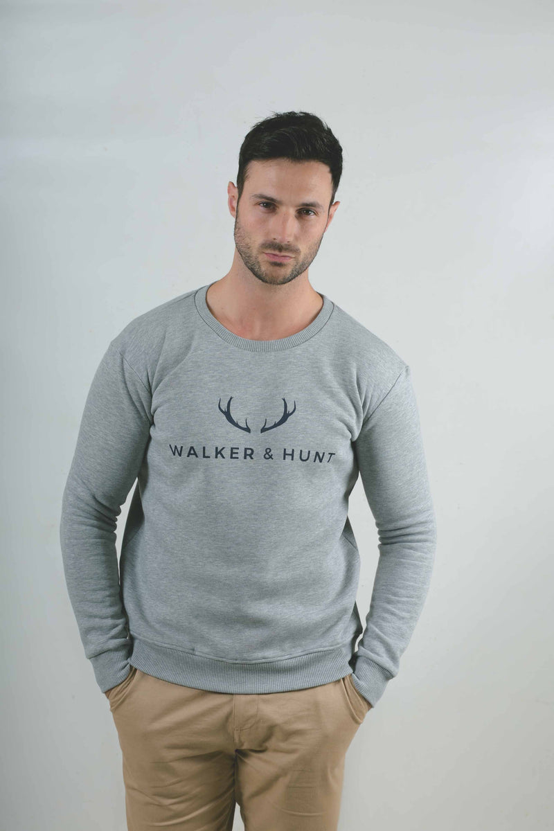 Grey Slim Fit Low Neckline Pullover Sweaters Walker & Hunt