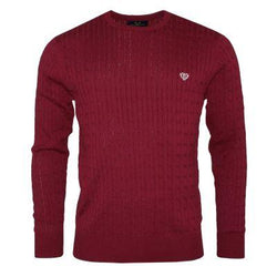 100% Cotton Cable Knit-Burgundy Sweaters Walker & Hunt