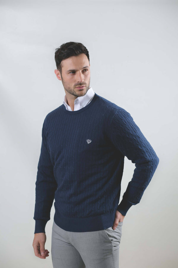 Walker & Hunt Navy Cable Knit Jumper - 100% Cotton