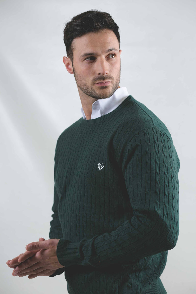 Lightweight Cable Knit- Irish Forest Green