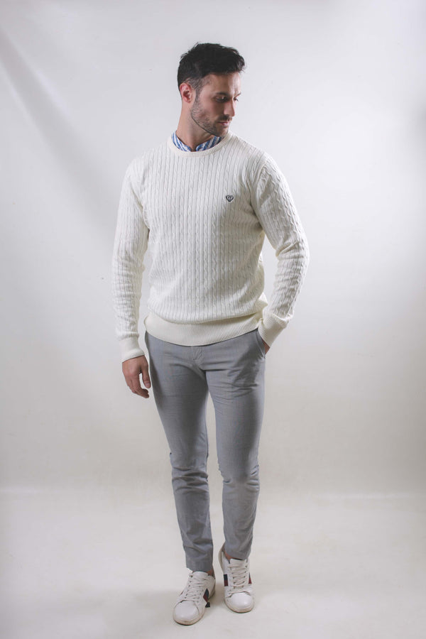 Lightweight Cable Knit-Cream