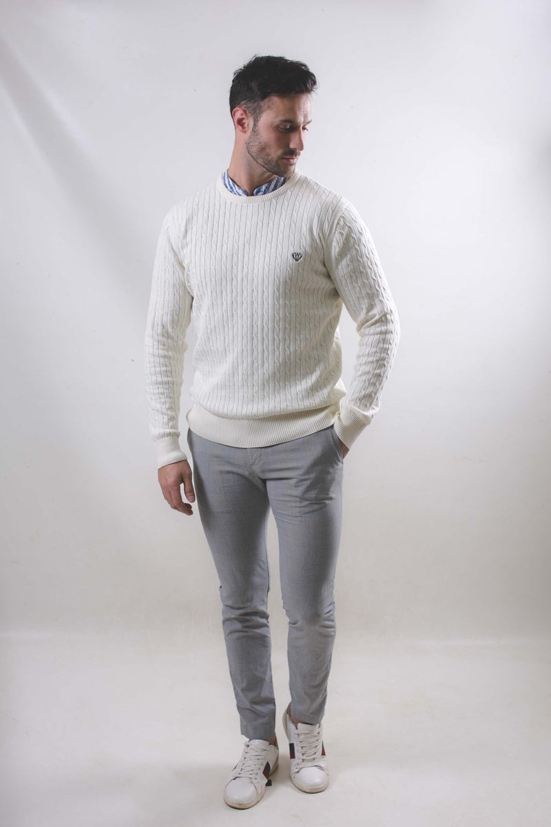 100% Cotton Cable Knit-Cream