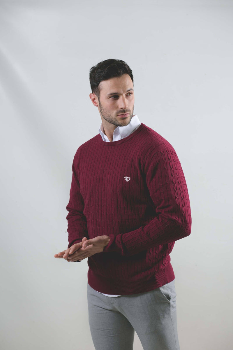 100% Cotton Cable Knit-Burgundy