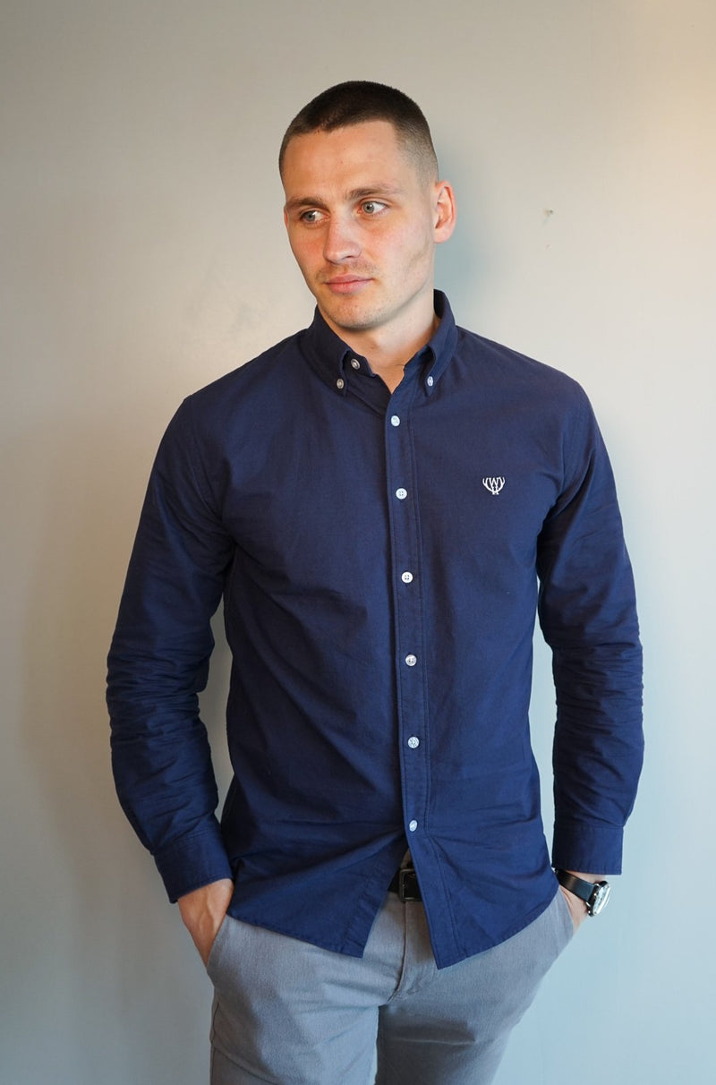Navy Slim Fit Oxford Shirt