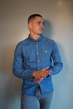 Medium Wash Denim Shirt - Super Slim