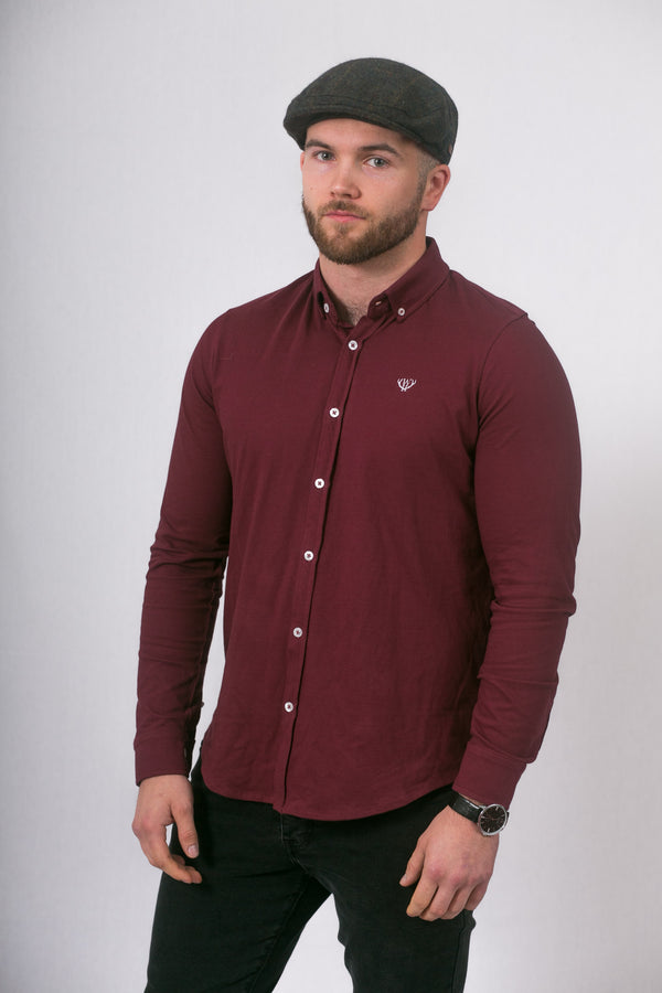 Burgundy Slim Fit Pique Shirt