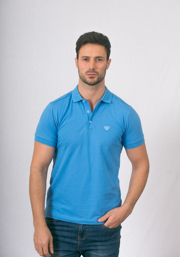 Man wearing light blue Polo Shirt