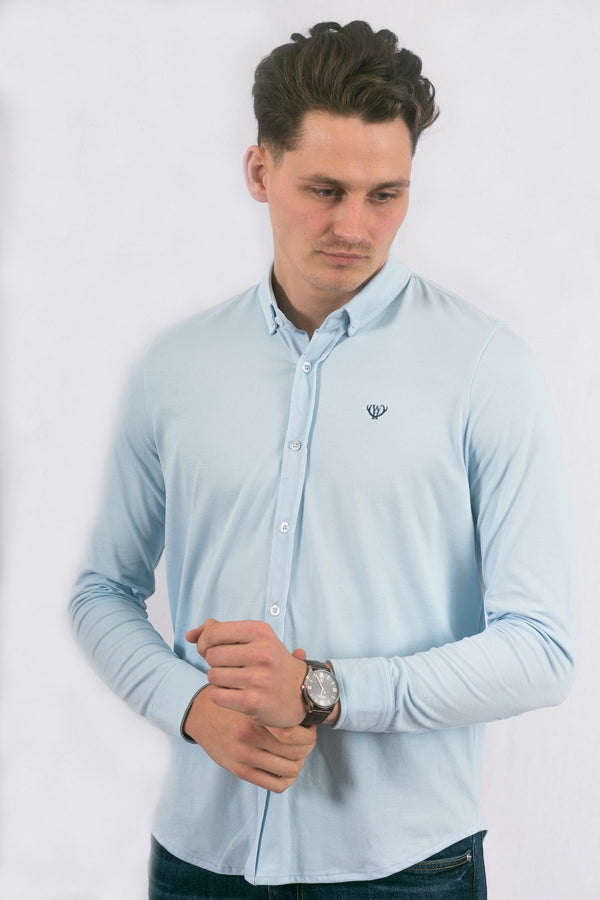 Light Blue Slim Pique Oxford Shirt