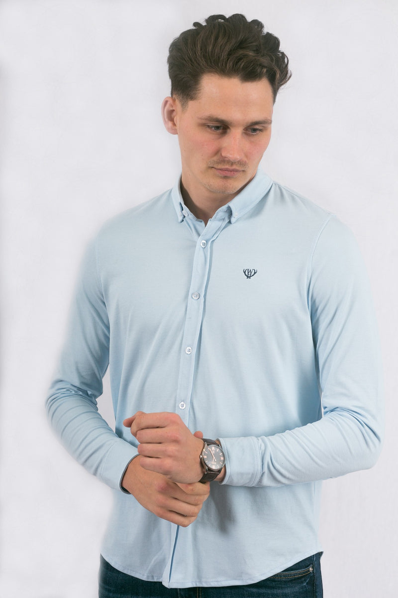 Light Blue Slim Pique Shirt