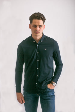 Navy Slim Fit Pique Shirt
