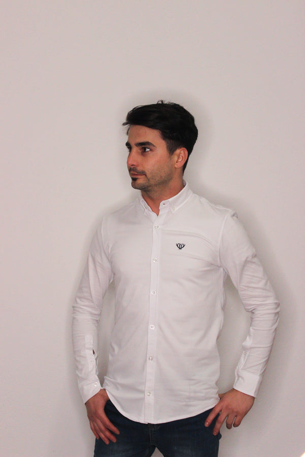 White Slim Fit Pique Shirt