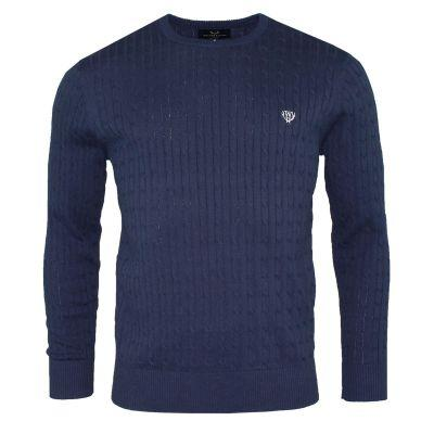 100% Cotton Cable Knit -French Navy