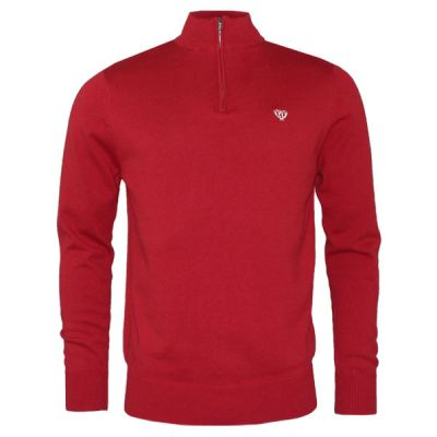 Winter Red 1/4 Zip Knitted Sweatshirt