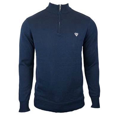 Dark Navy 1/4 Zip Knitted Sweatshirt