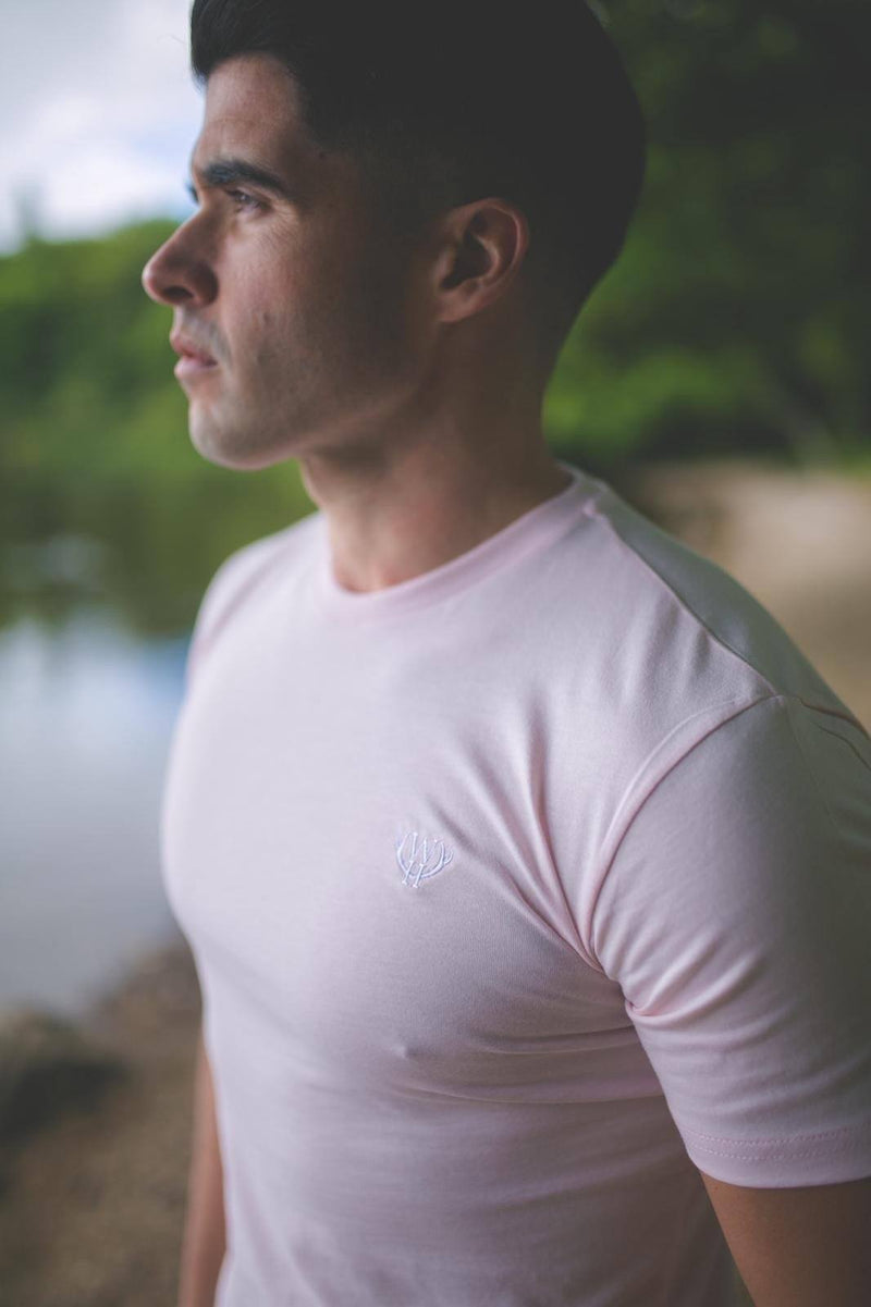 Light Pink T-Shirt with White Logo