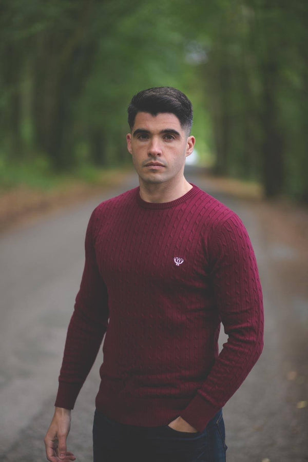Lightweight  Cable Knit-Burgundy