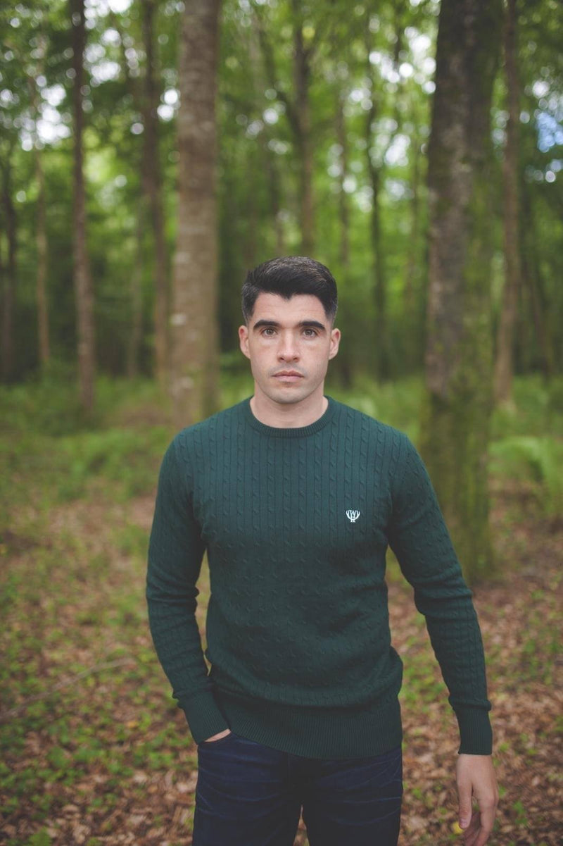Walker & Hunt Green Cable Knit Jumper - 100% cotton