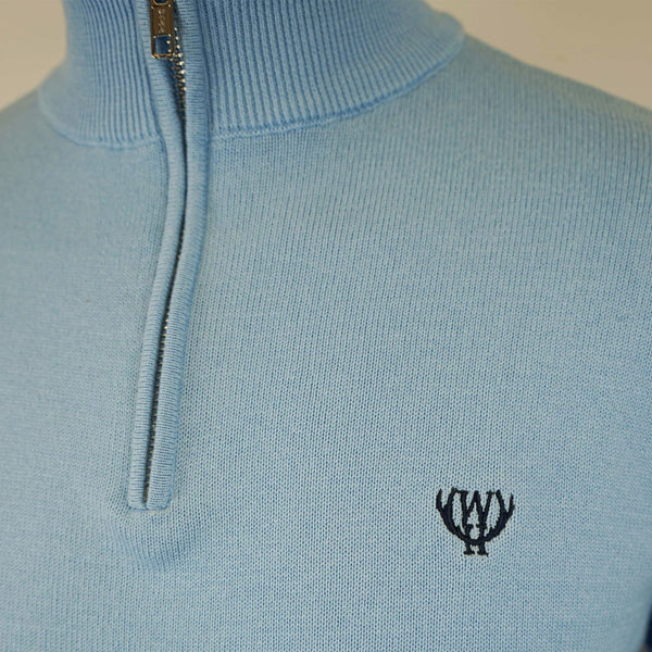 Light Blue 1/4 Zip Knitted Sweatshirt