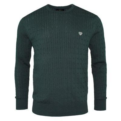 100% Cotton Cable Knit- Irish Forest Green Sweaters Walker & Hunt
