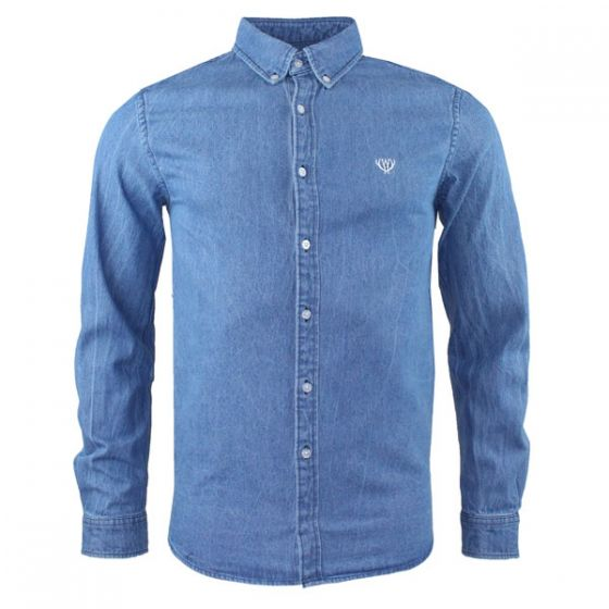 Medium Wash Denim Shirt - Slim Fit