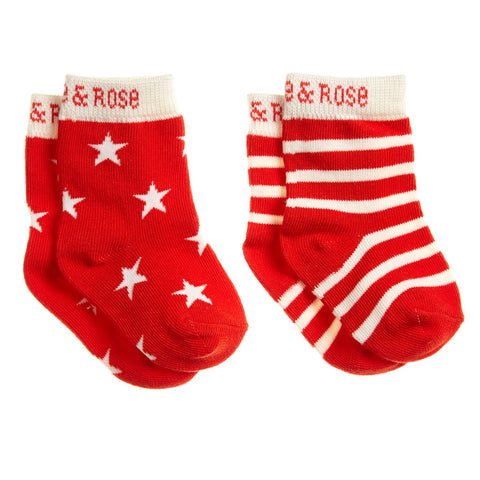 Blade & Rose Socks - Red & Cream