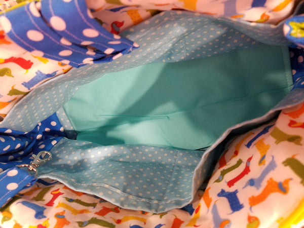 Diaper Bag - Blue Green Dog