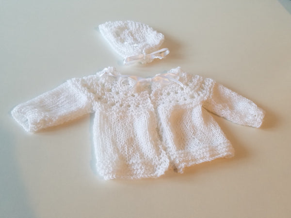 Knitted Sweater & Bonnet Set - White