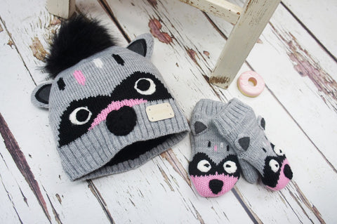 Bobble Hat & Mitten Set - Raccoon