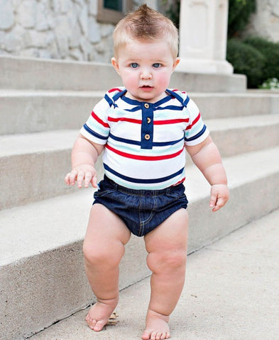 Red Navy Stripe Bodysuit