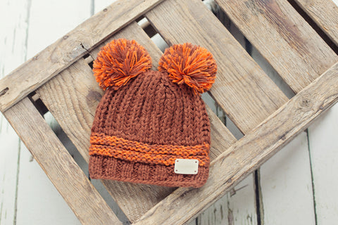 Double Bobble Hat - Brown & Burnt Orange