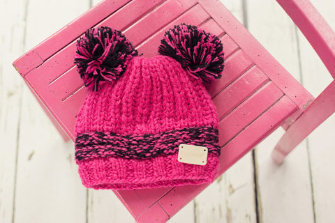 Double Bobble Hat - Pink and Black