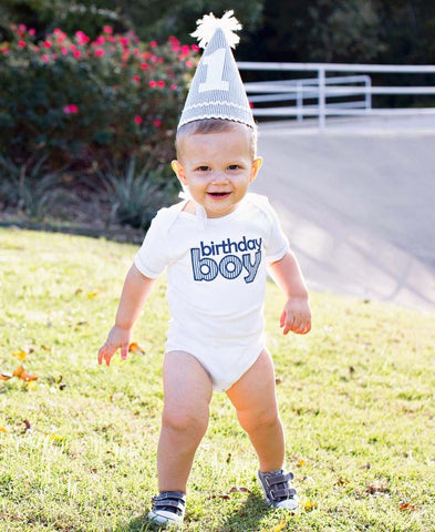 Blue Seersucker Birthday Boy Bodysuit