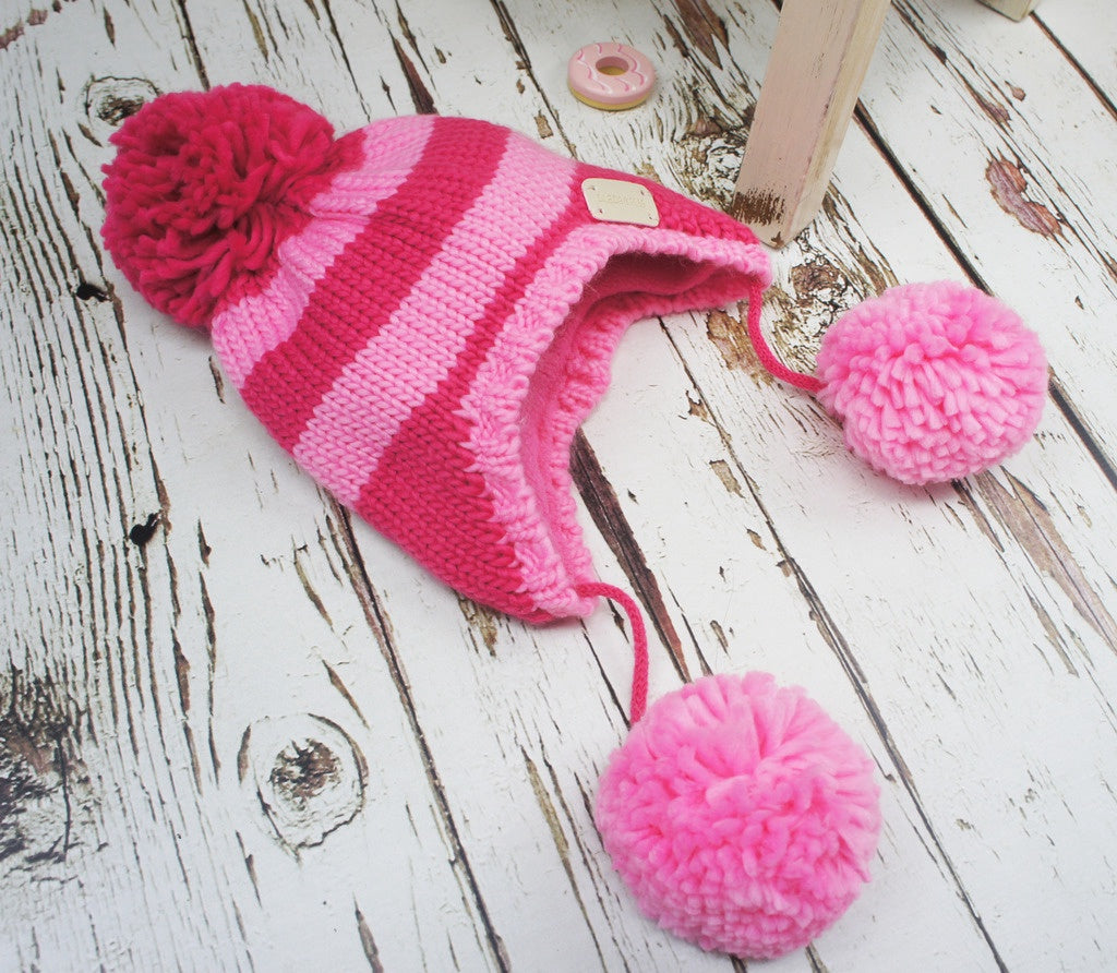 Bobble Hat - Pink Stripe