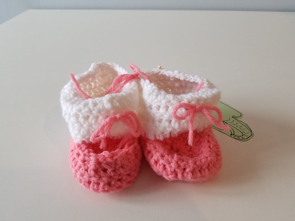 Newborn Baby Booties - Pink & White