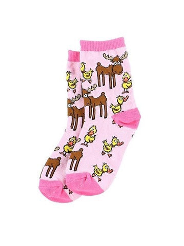 Duck Duck Moose Socks - Pink