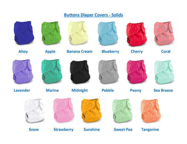 Buttons One Size Diaper Cover - Solids