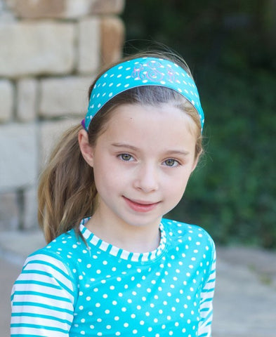 Aqua Polka Dot Swimwear Headband