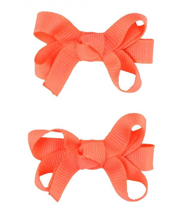 Hair Bows - Coral Double