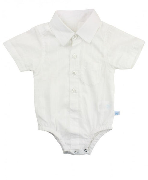 White Dobby Button-up Bodysuit